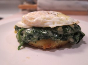 Polenta, Creamed Spinach, Egg